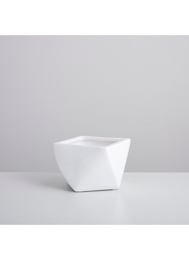 Chakra Zemare Saksı M 15,5x15,5x10,6 cm Beyaz Beyaz